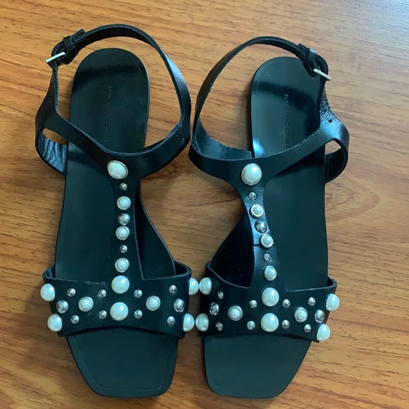 Brand new never worn zara sandals with pearls